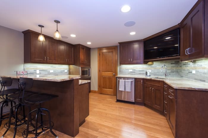 newly remodeled kitchen with bar