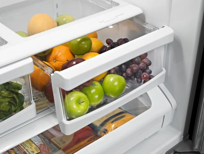 Shot of produce and meat drawers in a Whirlpool refrigerator