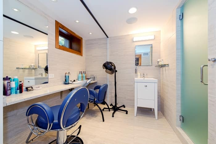 hair styling salon in remodeled basement