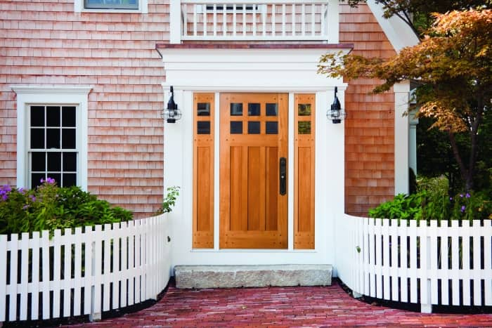 wood front entry door with sidelights and transom