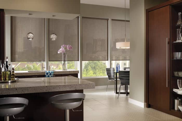 roller solar shades in kitchen