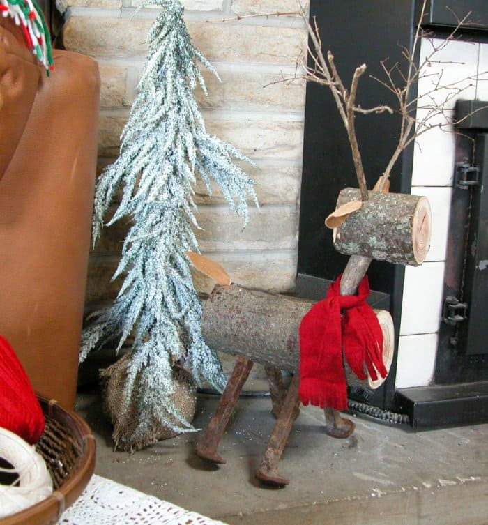 Make a rustic Christmas reindeer out of wood. (Image courtesy of Larissa Haynes/Prodigal Pieces)