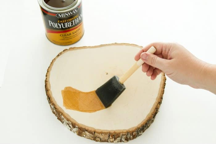 applying polyurethane to DIY plant stand