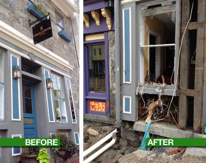 Craig Coyne jewelry store in Ellicott City, Maryland before and after 2016 flood
