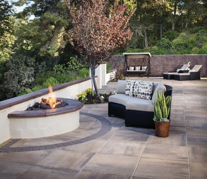 Outdoor seating around a fire pit