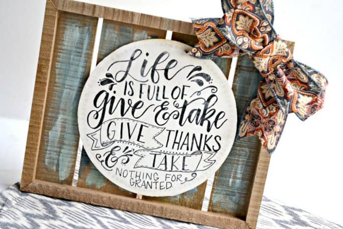 Use your favorite colors and add some fall-colored ribbon to complete your Thanksgiving sign. (Photo by Abbey DeHart/The Cards We Drew)