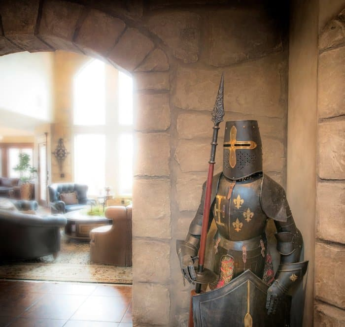 Silver Crow Studios remodel with faux stone and suit of armor
