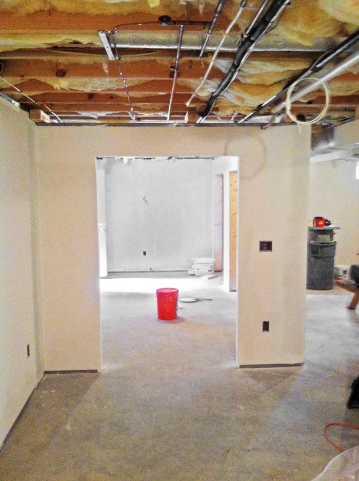 Before and after basement remodel