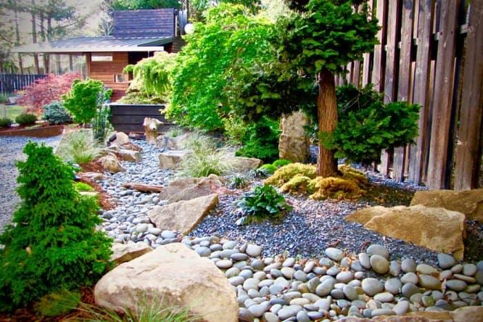 Various Rocks In Backyard Zen Garden