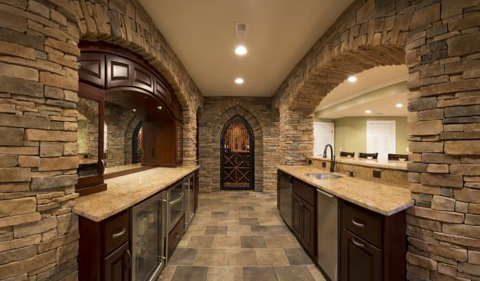 Basement remodel with bar