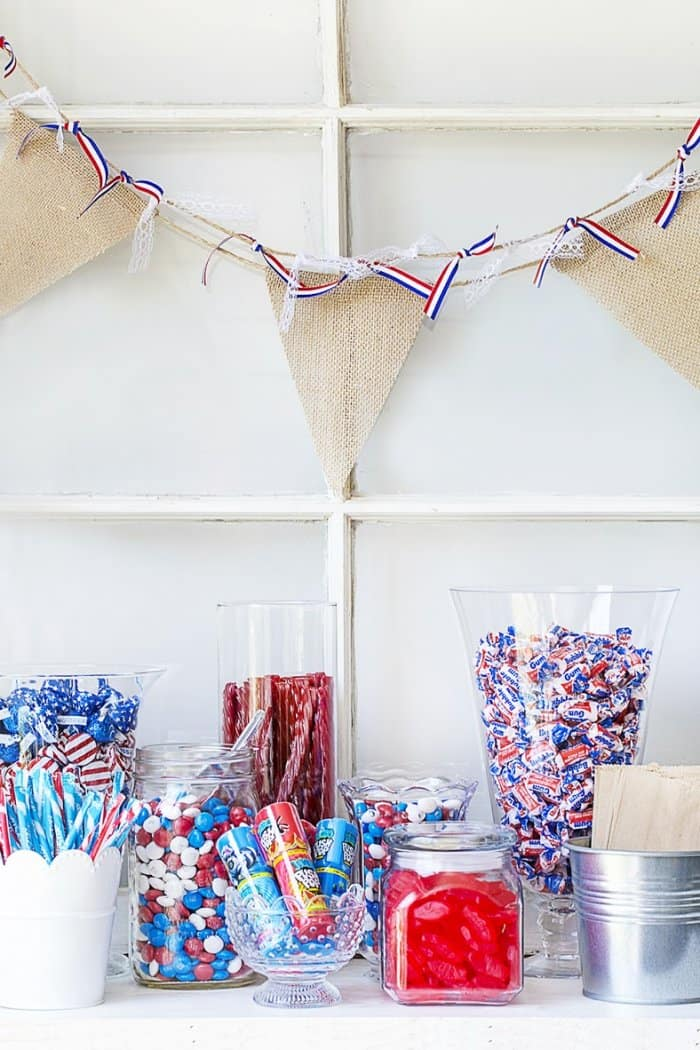 red, white and blue candy bar