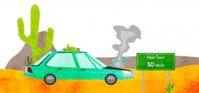 illustration of overheated green car in the desert