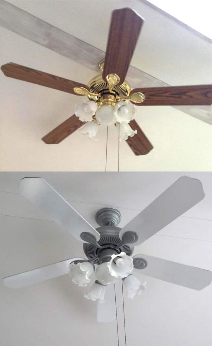 before and after photos of ceiling fan