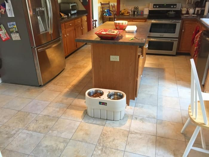 Square Ceramic Tile On Kitchen Floor