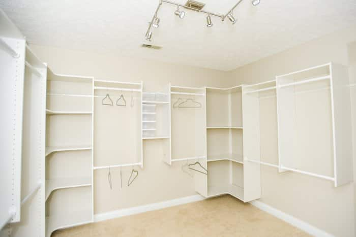 Closet With Track Lighting On Ceiling