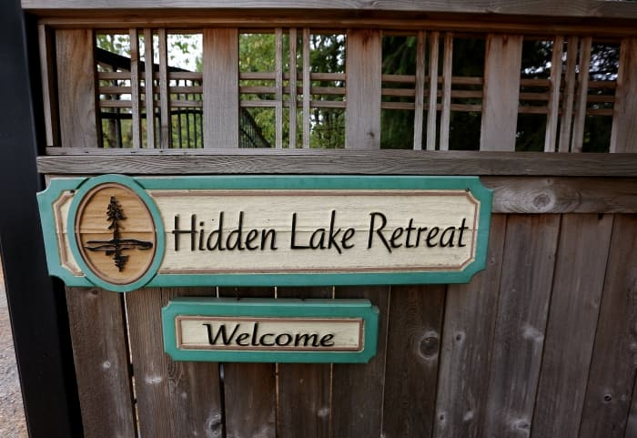 sign on door to Hidden Lake Retreat