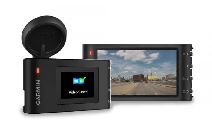 Group product shot of a Garmin Dash Cam 30 and Dash Cam 35, unmounted.