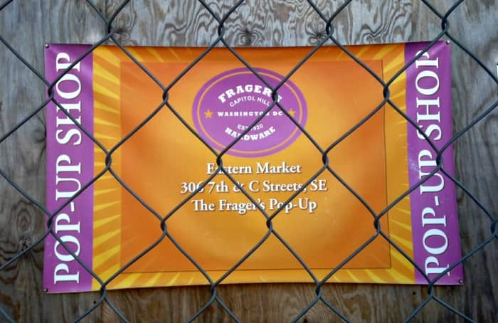 Signs now direct Frager's customers to one of several temporary locations throughout Capitol Hill. (Photo by Jason Hargraves)