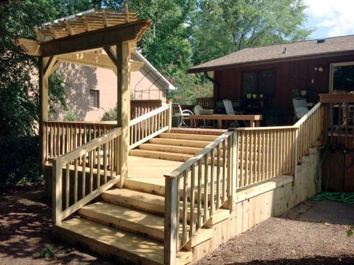 this deck makeover began with the removal of deteriorate components