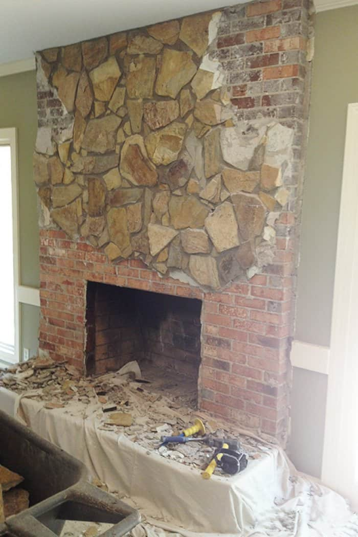 Demolition Stone Fireplace Remodel