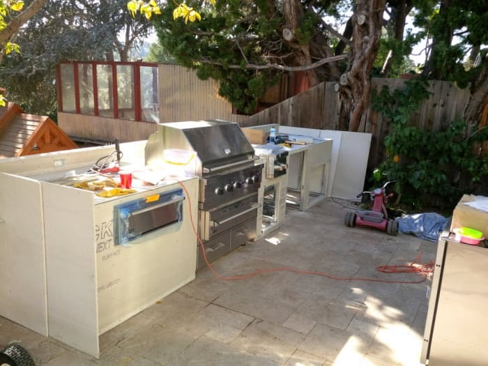 DIY Outdoor Kitchen Project Framed With Galvanized Steel Frames Covered By  Cement Board.