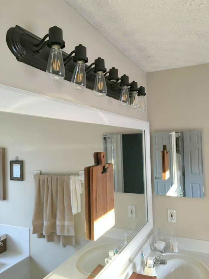 Wonderful Painted Bathroom Vanity Light Fixture With Edison Bulbs