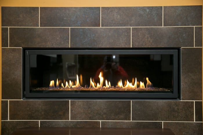 Electric Fireplace Mounted In Tiled Wall
