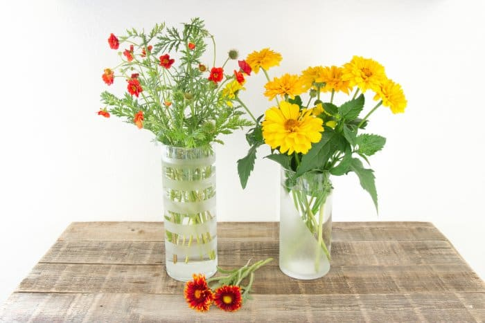 Try different etching patterns to glam up dollar store vases. (Photo courtesy of Stacy Risenmay/Not JUST A Housewife)