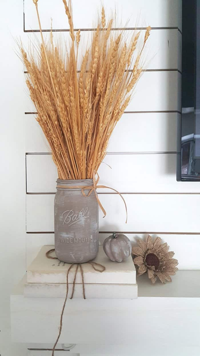 DIY painted Ball jar and pumpkin