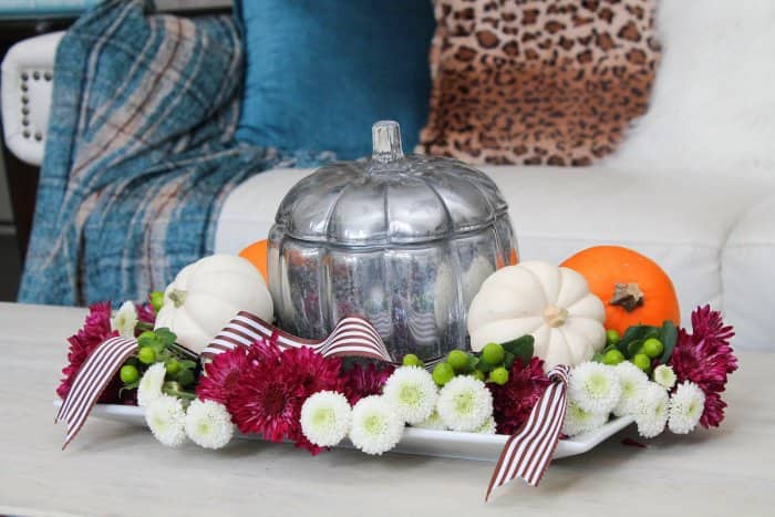 fall centerpiece with mercury glass pumpkin and flowers