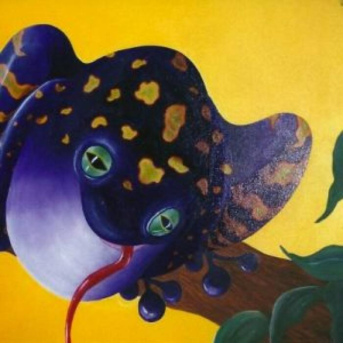 purple frog mural in kid's bedroom