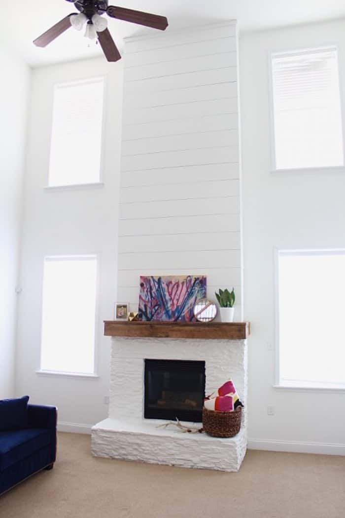 White Painted Stone Amp Shiplap Fireplace Makeover Angie S