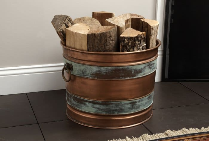 copper bucket firewood storage