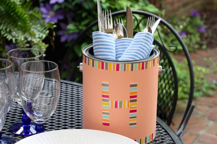 paint can used as silverware caddy