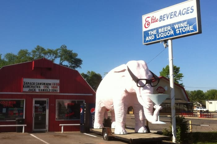 pink elephant, liquor store, odd Indiana