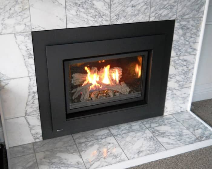 Gas Fireplace Insert With Marble Surround