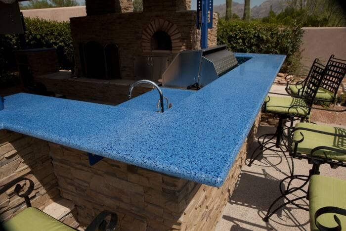 recycled glass countertops in outdoor kitchen