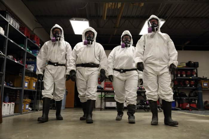 Hazardous disposal trainees at the Environmental Management Institute in Indianapolis, Indiana.