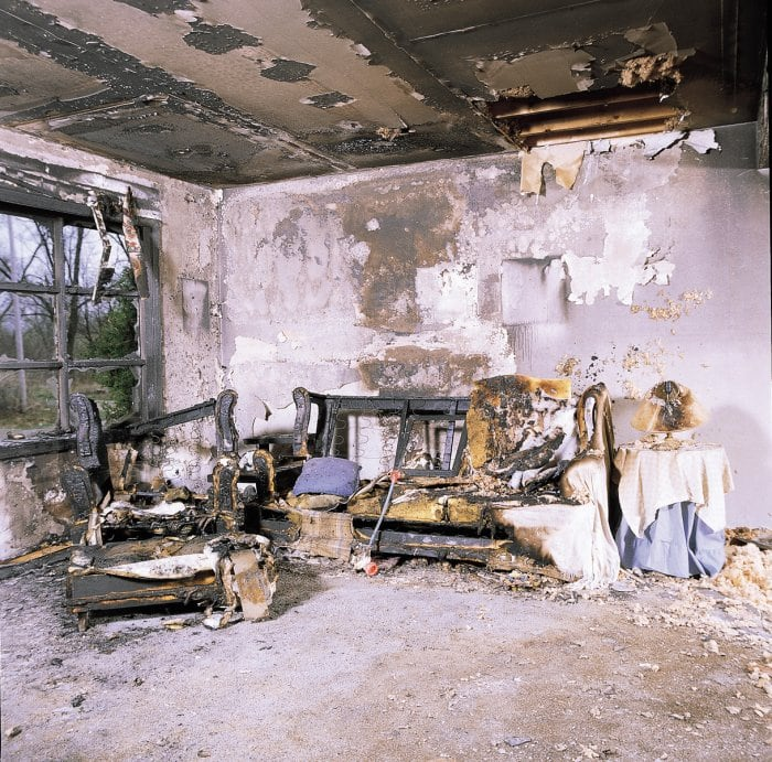 after photo of living room after fire