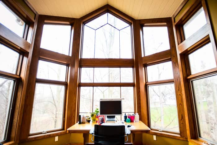 home office with lots of windows
