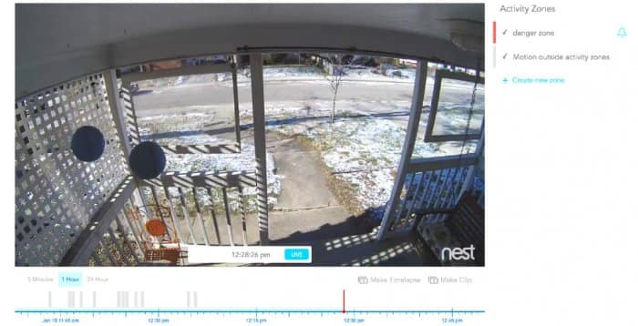 Feed from a home security camera