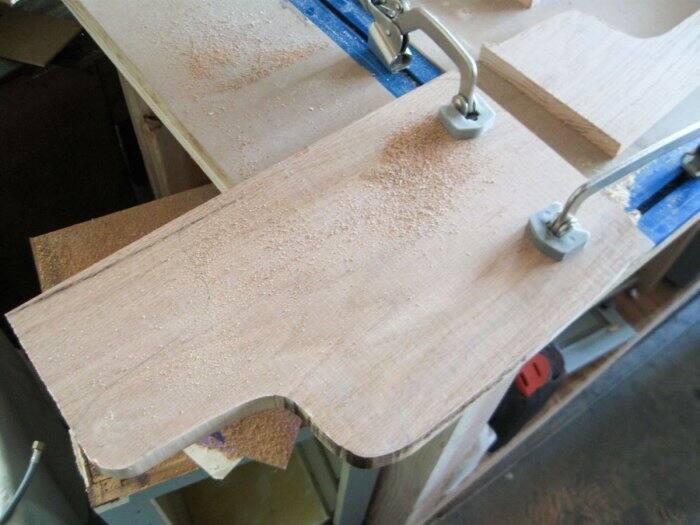 cutting out DIY cutting board on jigsaw