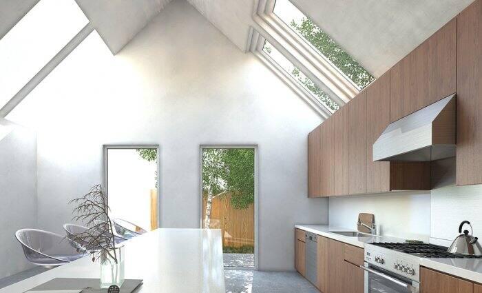 skylights provide natural light in kitchen