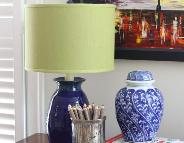 lamp with yellow lampshade