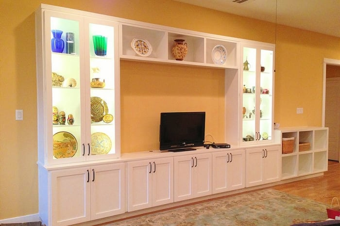 custom cabinet with built-in LED lighting