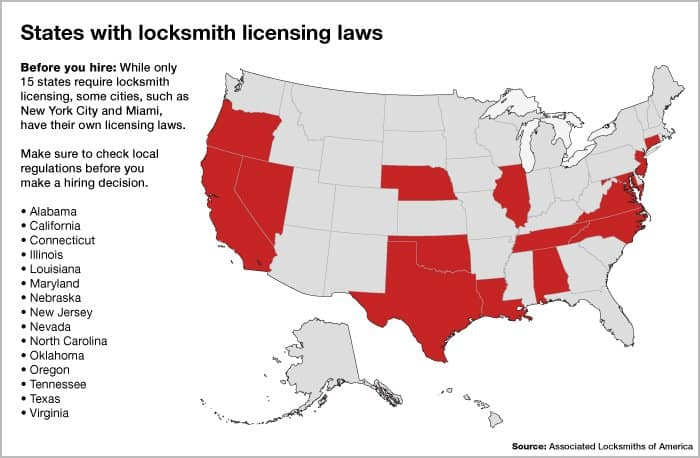 Map of states with locksmith licensing laws
