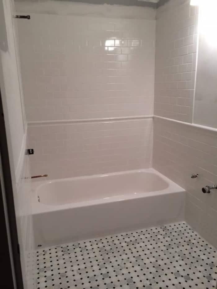 Marble Tile Floor In Bathroom