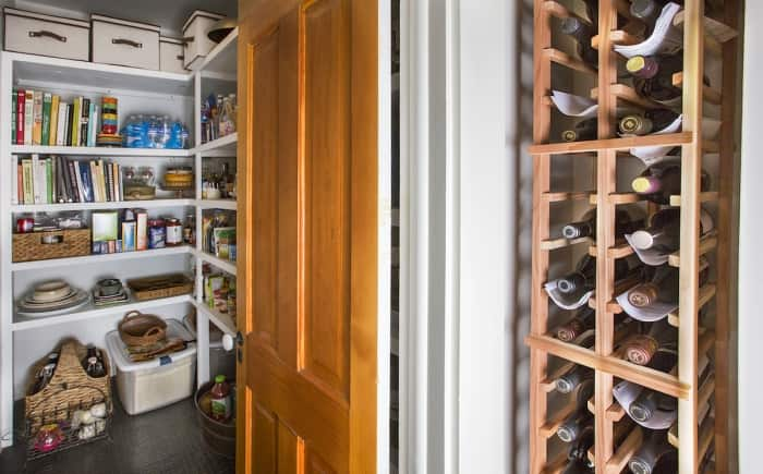 walk-in pantry and wine rack