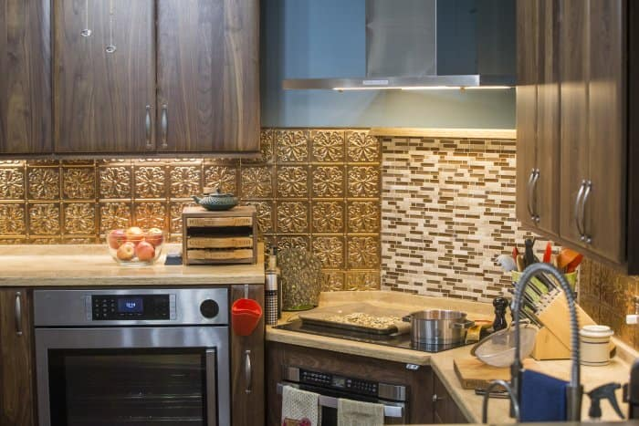 metal tile kitchen backsplash photo by mike fender - Backsplash Kitchen Photos