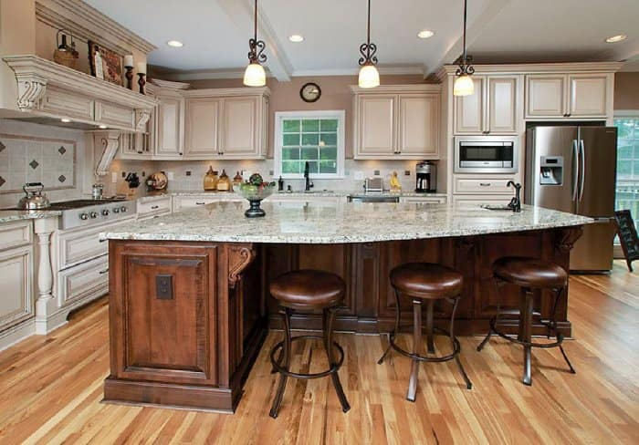 Large Granite Countertop Covered Kitchen Island With Leather Chair Height  Stools